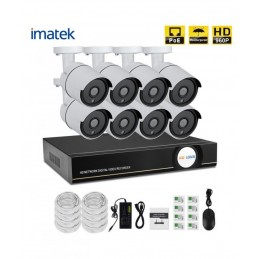 Kit 8 caméra IP RJ45 POE 1.3MP COMPLET - imatek X51368